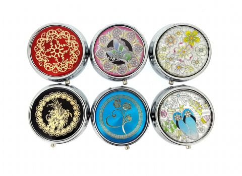 Small Round Floral Design Metal Pill box (3 Pack)